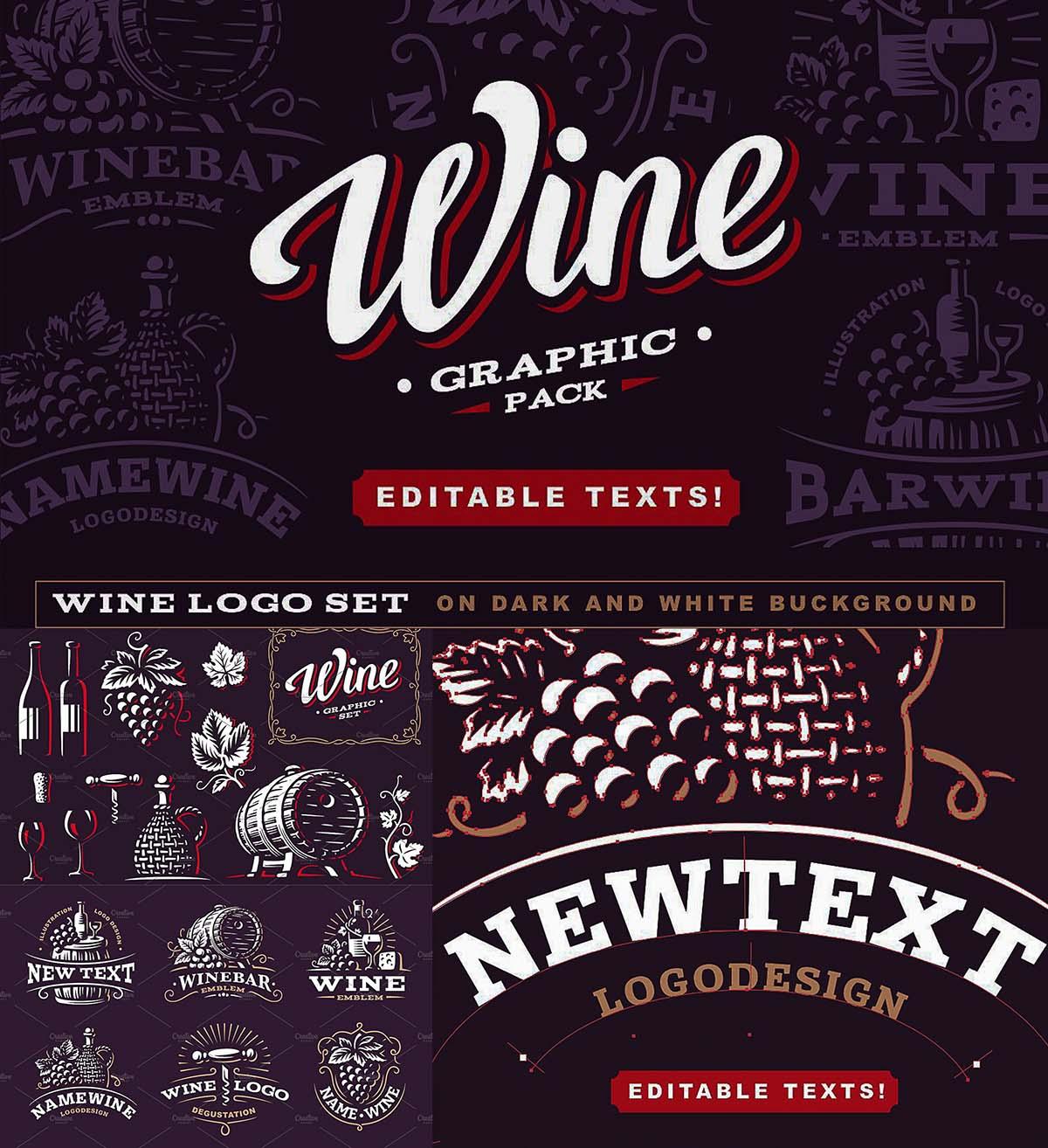 Wine vector logo pack