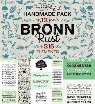 Bronn rust font with elements