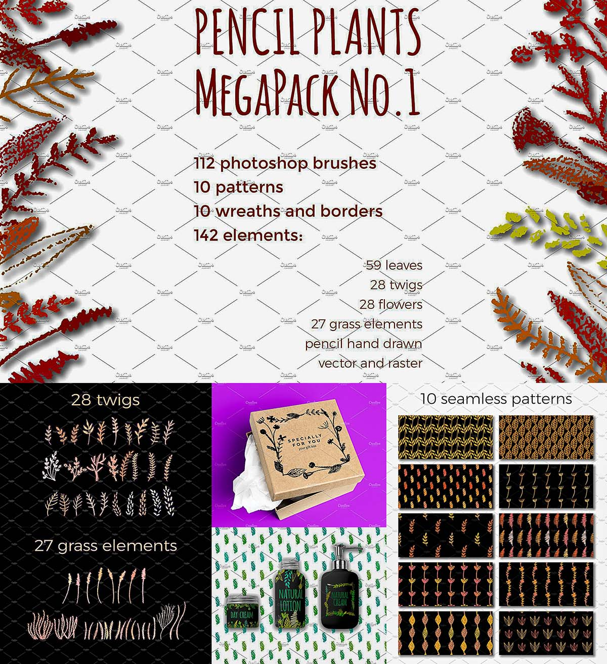 Autumn floral bushes, patterns mega pack