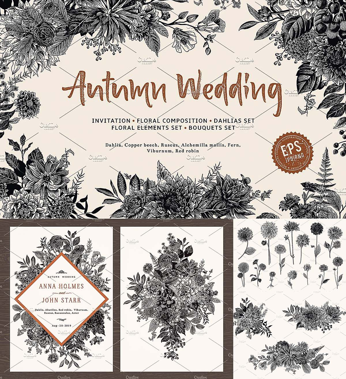 Autumn floral wedding invitations set
