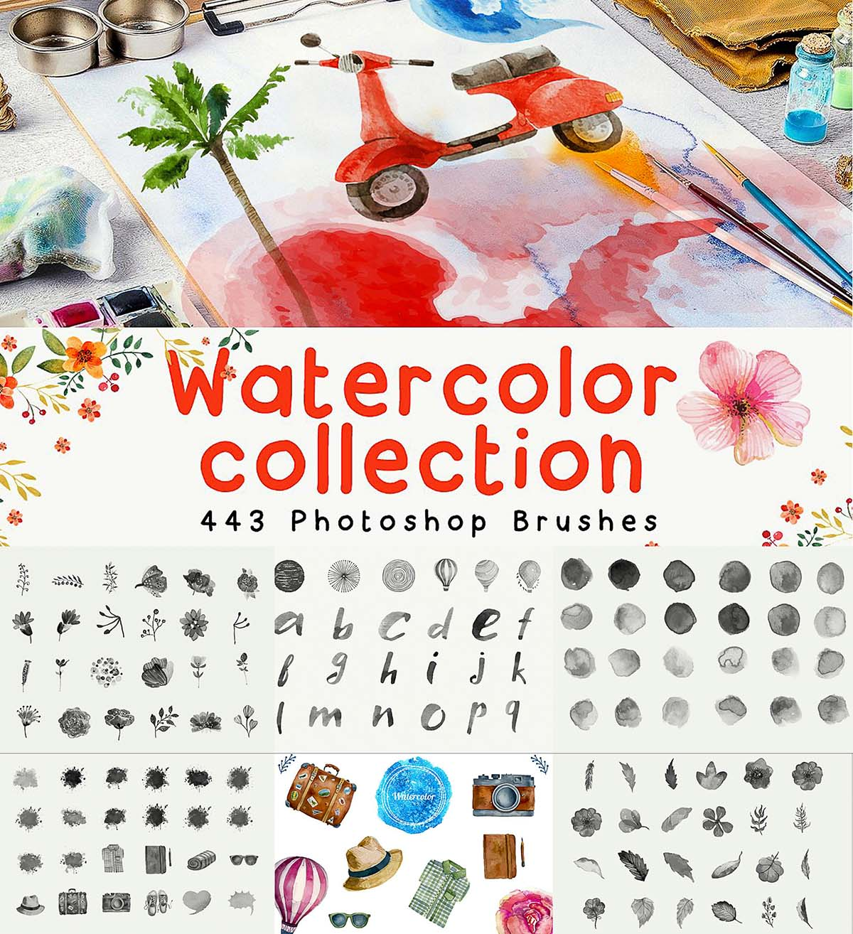 443 photoshop brushes collection