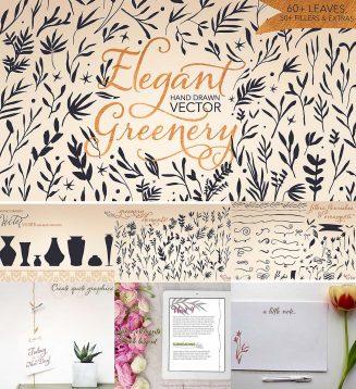Hand drawn greenery vector set