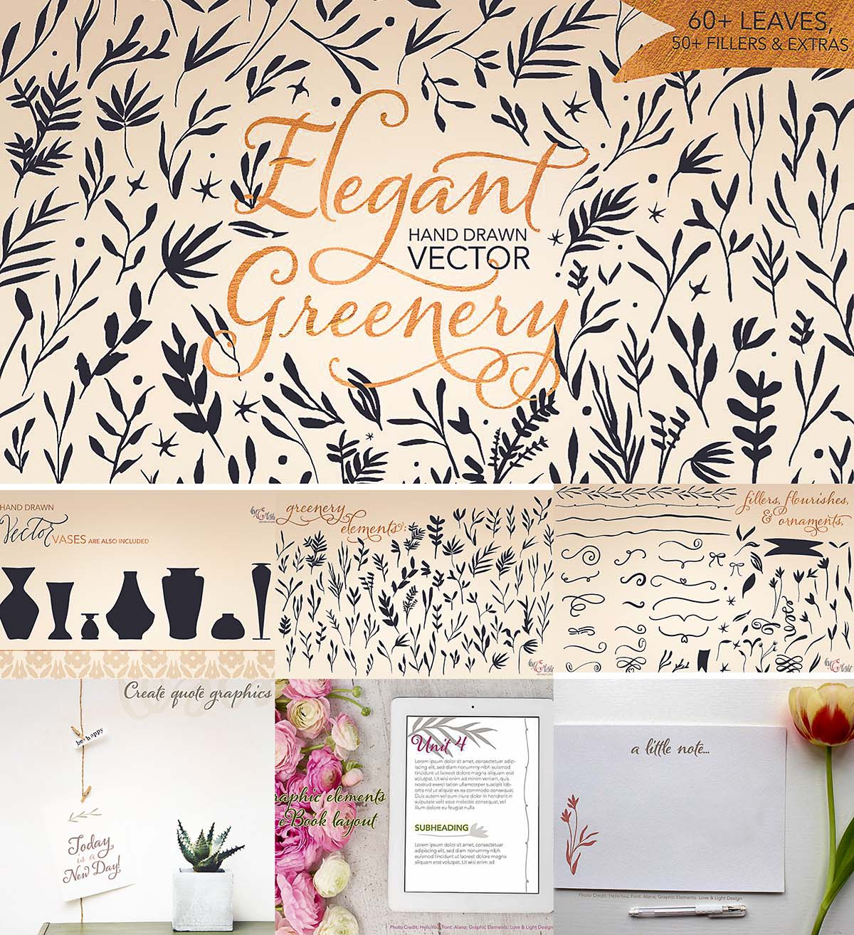 Hand drawn greenery vector set