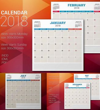 Monthly planner set 2018