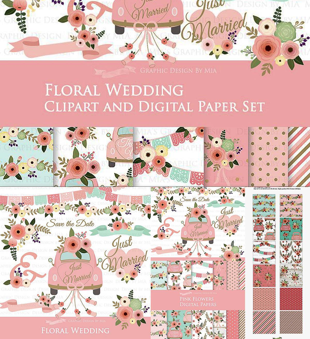 Floral Wedding Clipart Pattern Set