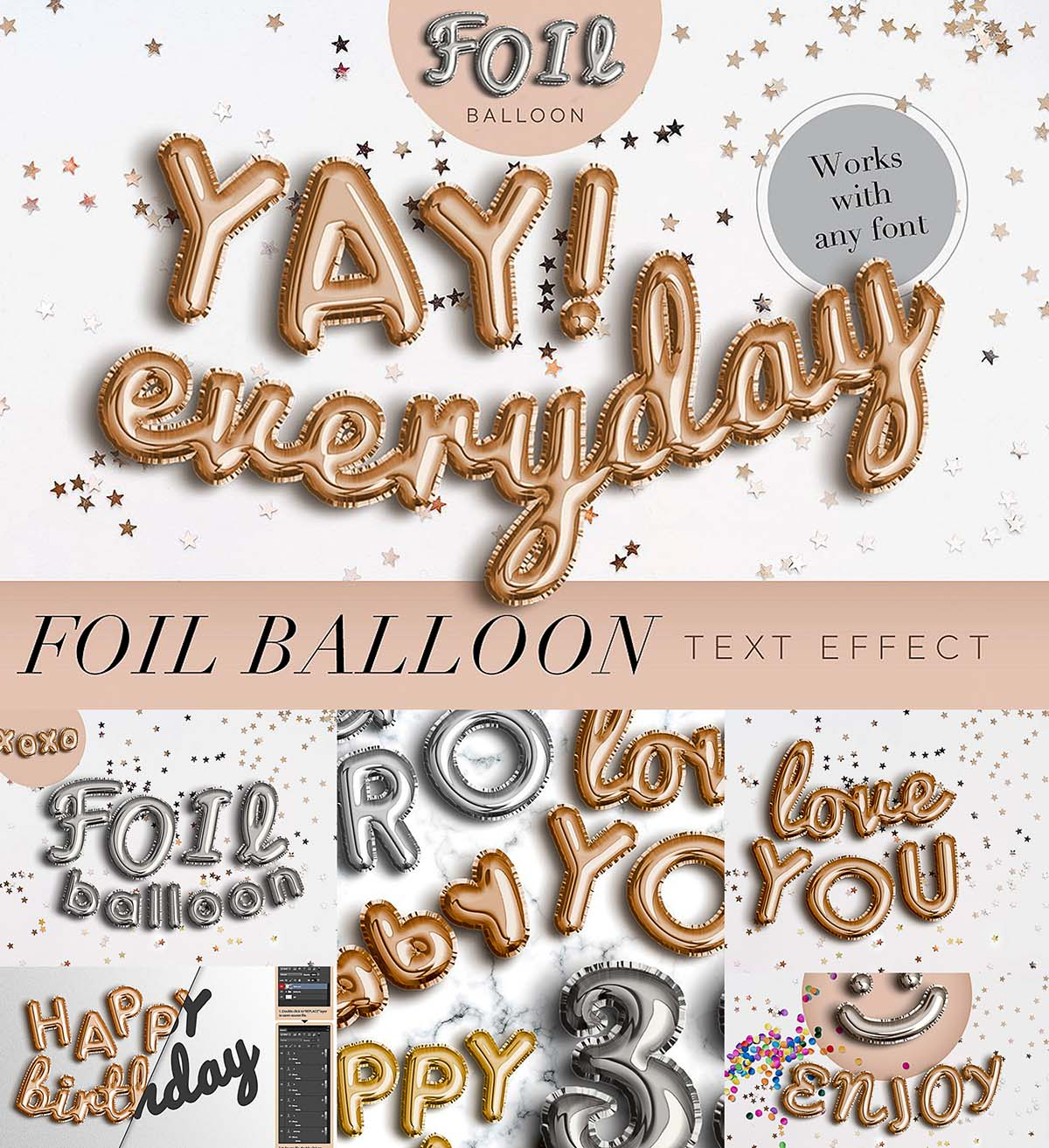 Foil baloon text effect | Free download