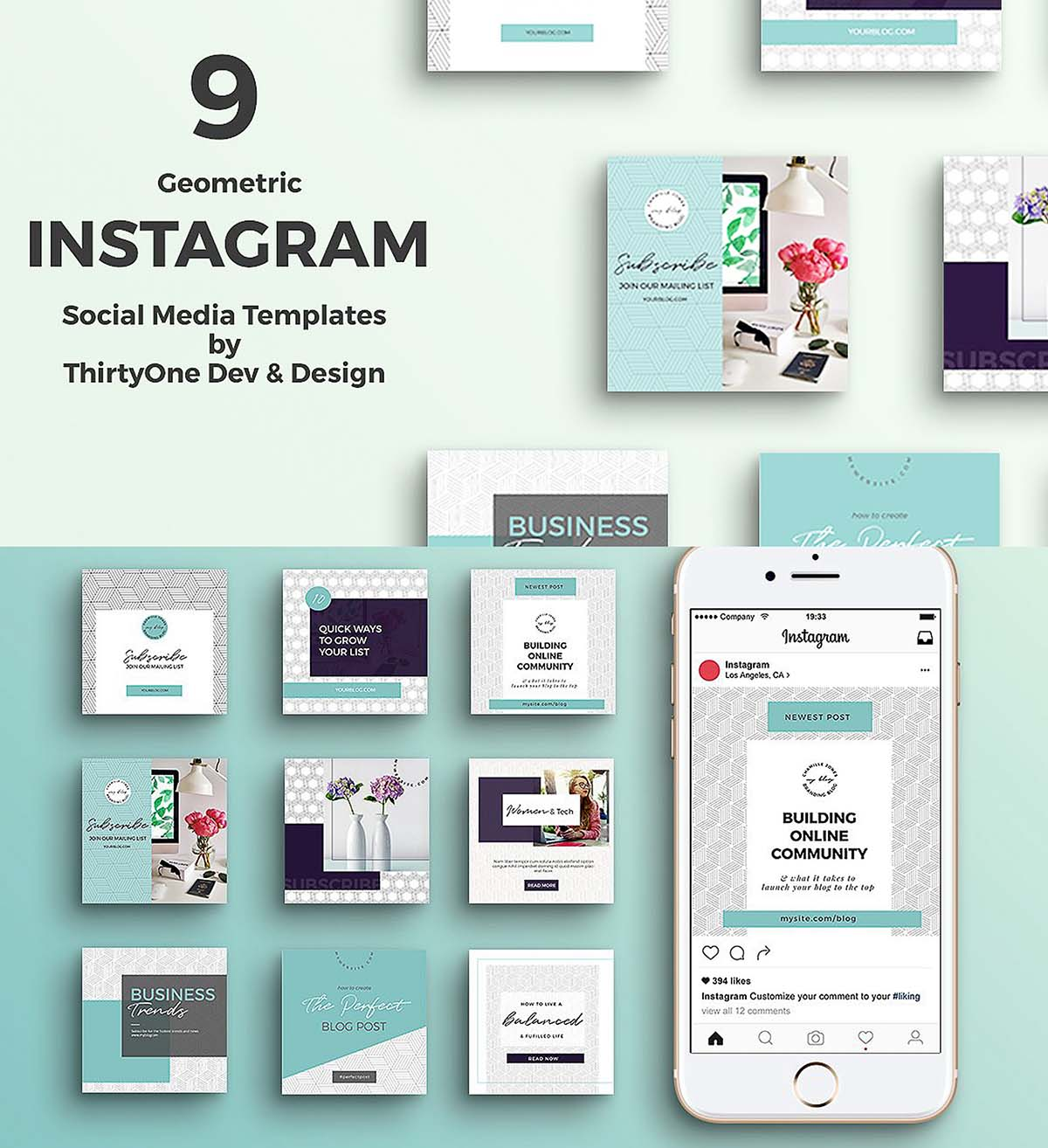geometric instagram templates set