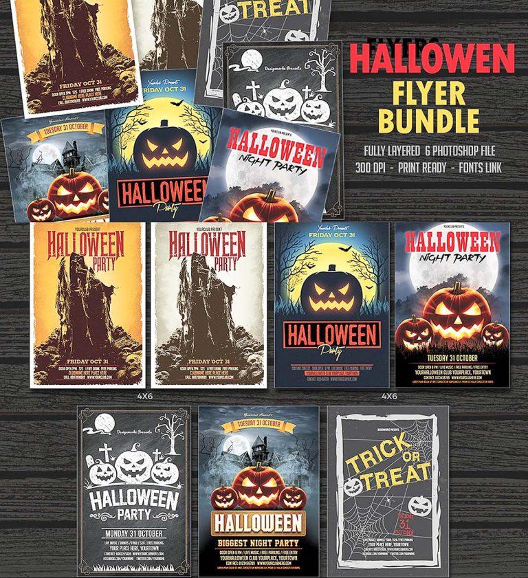 Woodsign Mockup: Halloween Party Flyer Bundle