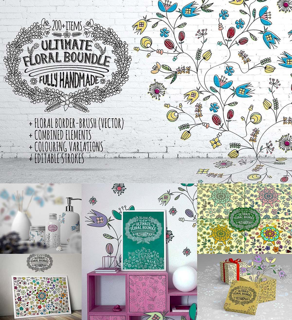 Hand-Drawn Vintage Floral DIY Kit