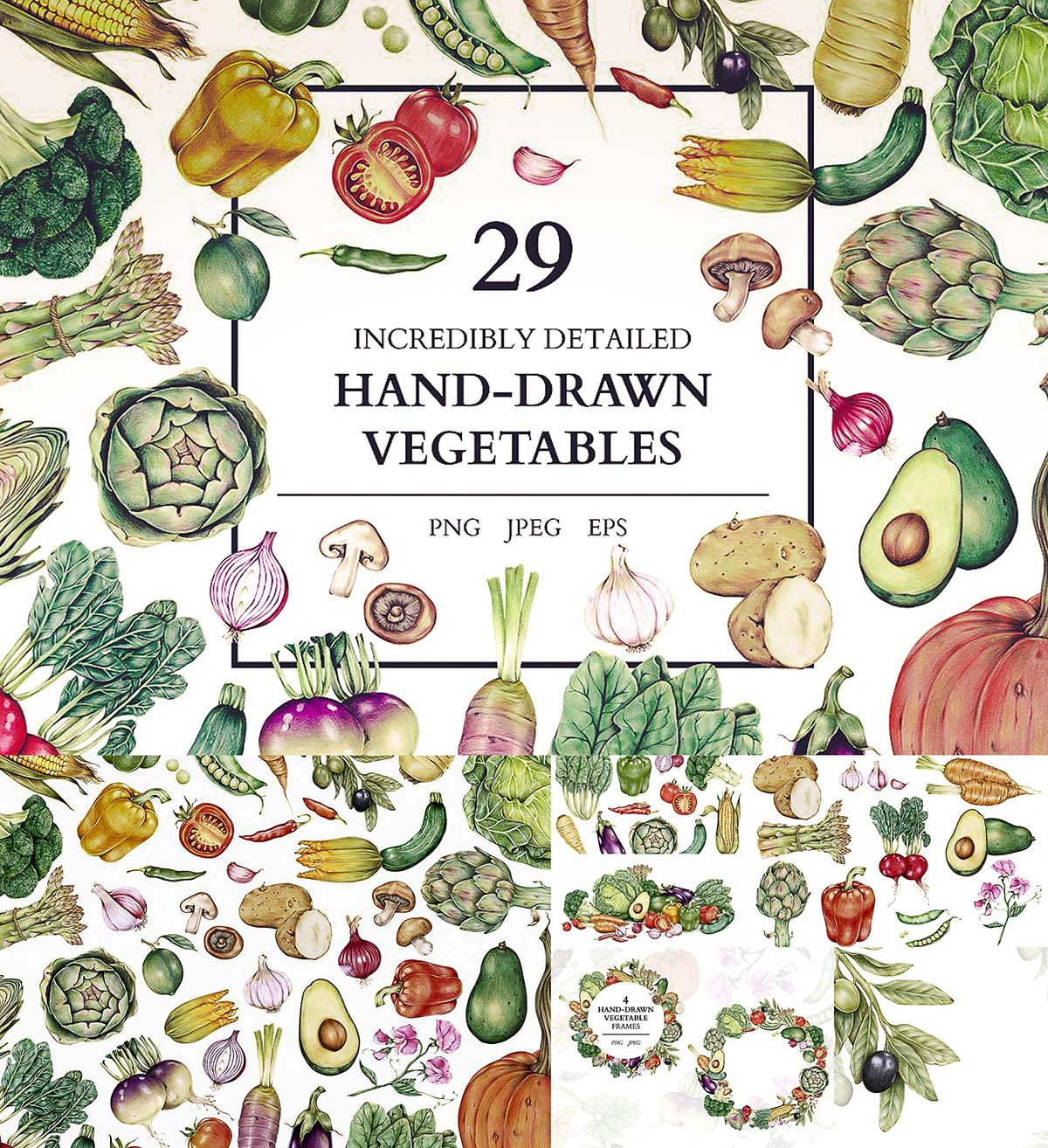 Abstract Social Media Watercolor Icons Set: Incredible Hand Drawn Vegetables Set