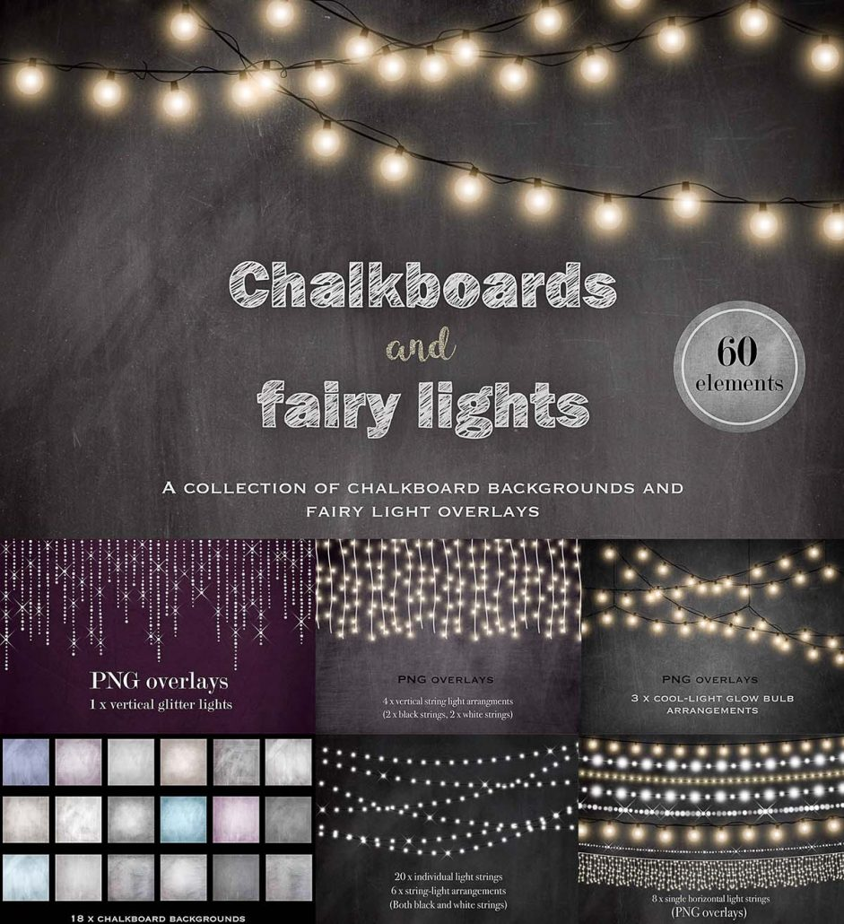 chalkboards and fairy lights