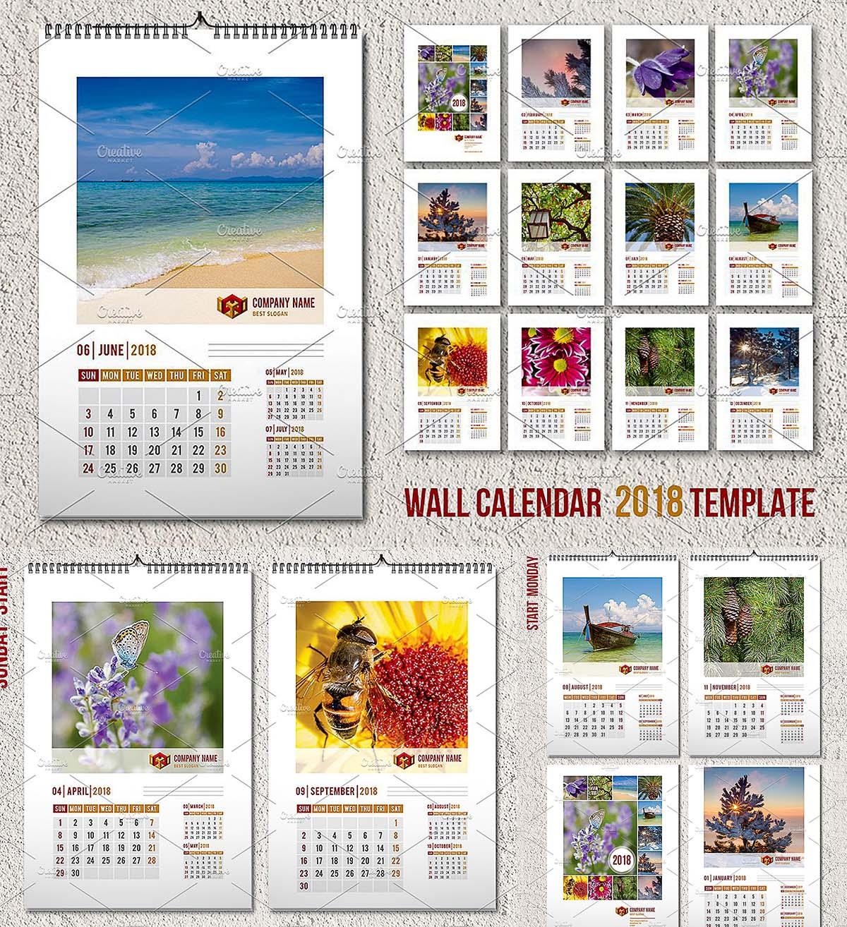 wall calendar template 2018 a3