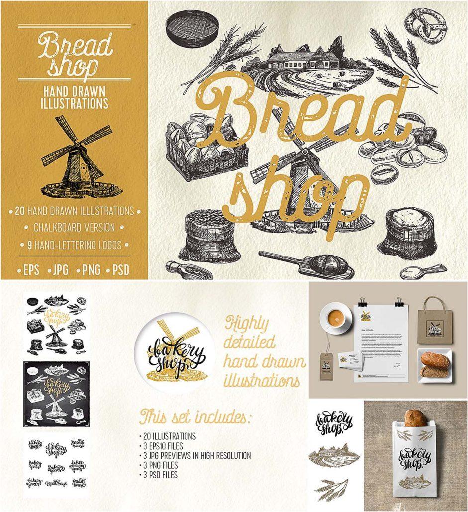 Bakery Shop Hand Drawn Illustrations