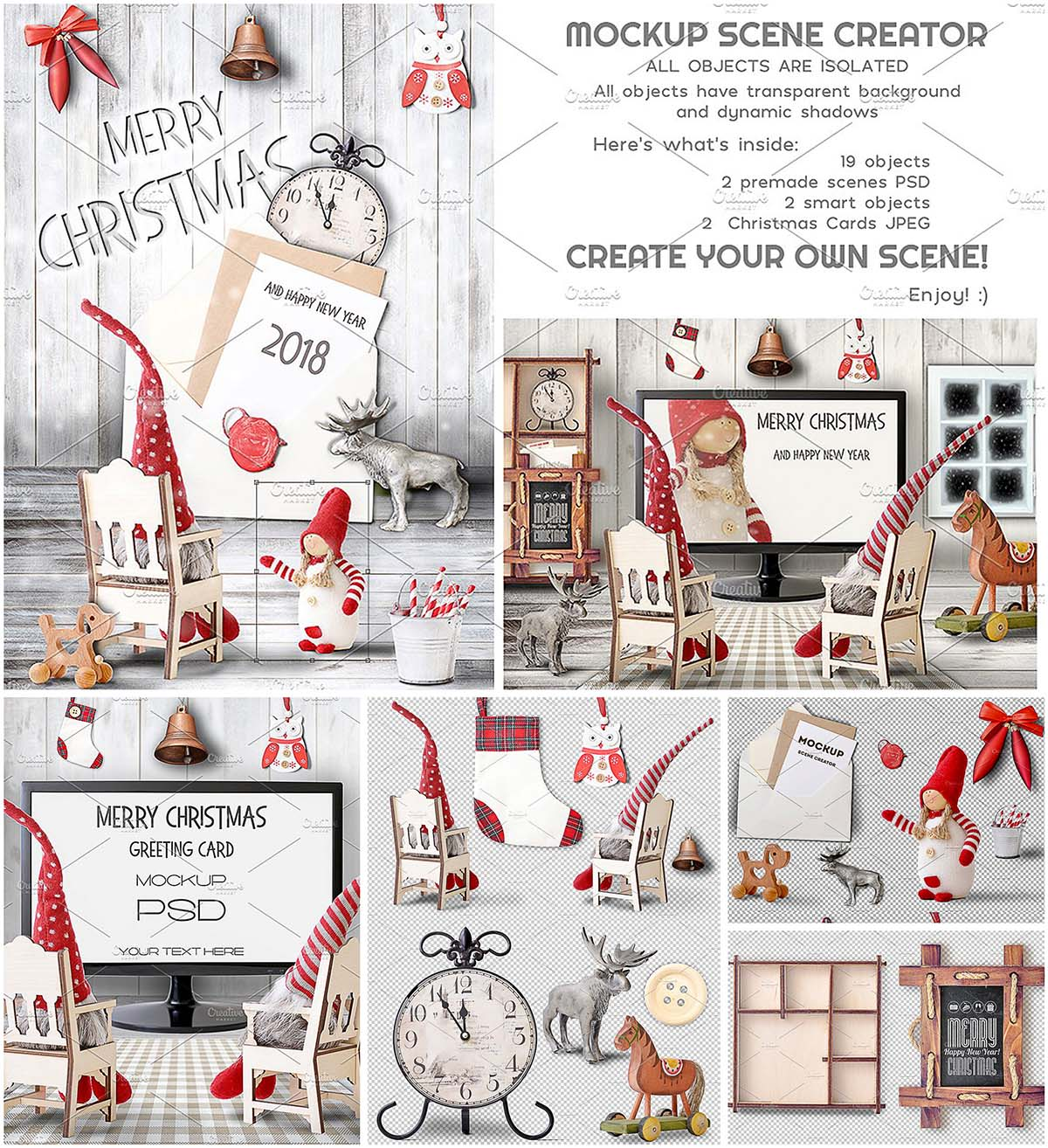 Christmas Mockup Scene Creator Free Download