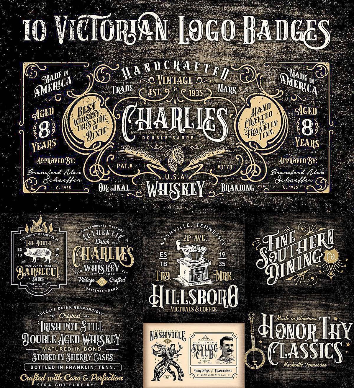 Vintage victorian badges collection | Free download