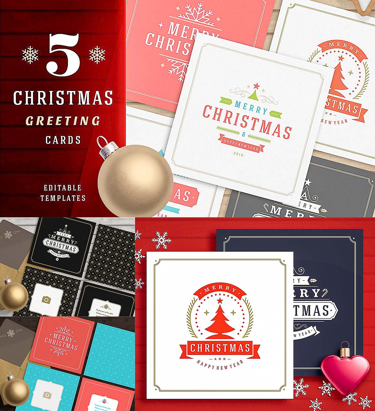 5 Christmas Greeting Cards Free Download