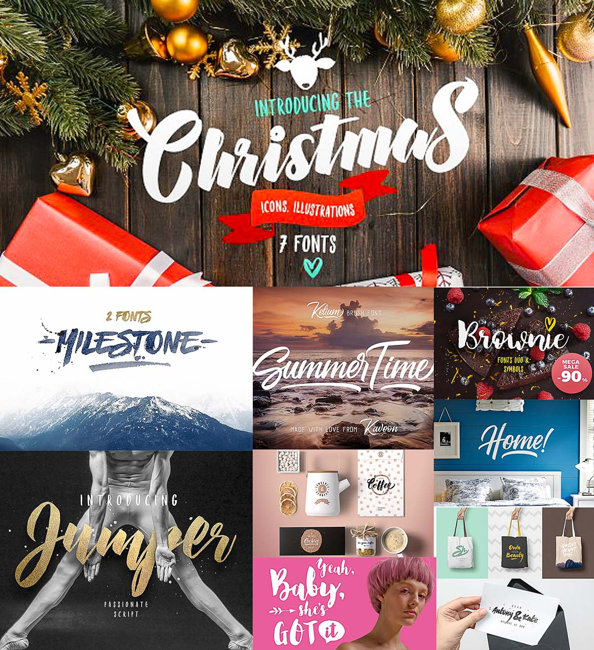 Christmas Bundle of 7 Fonts | Free download