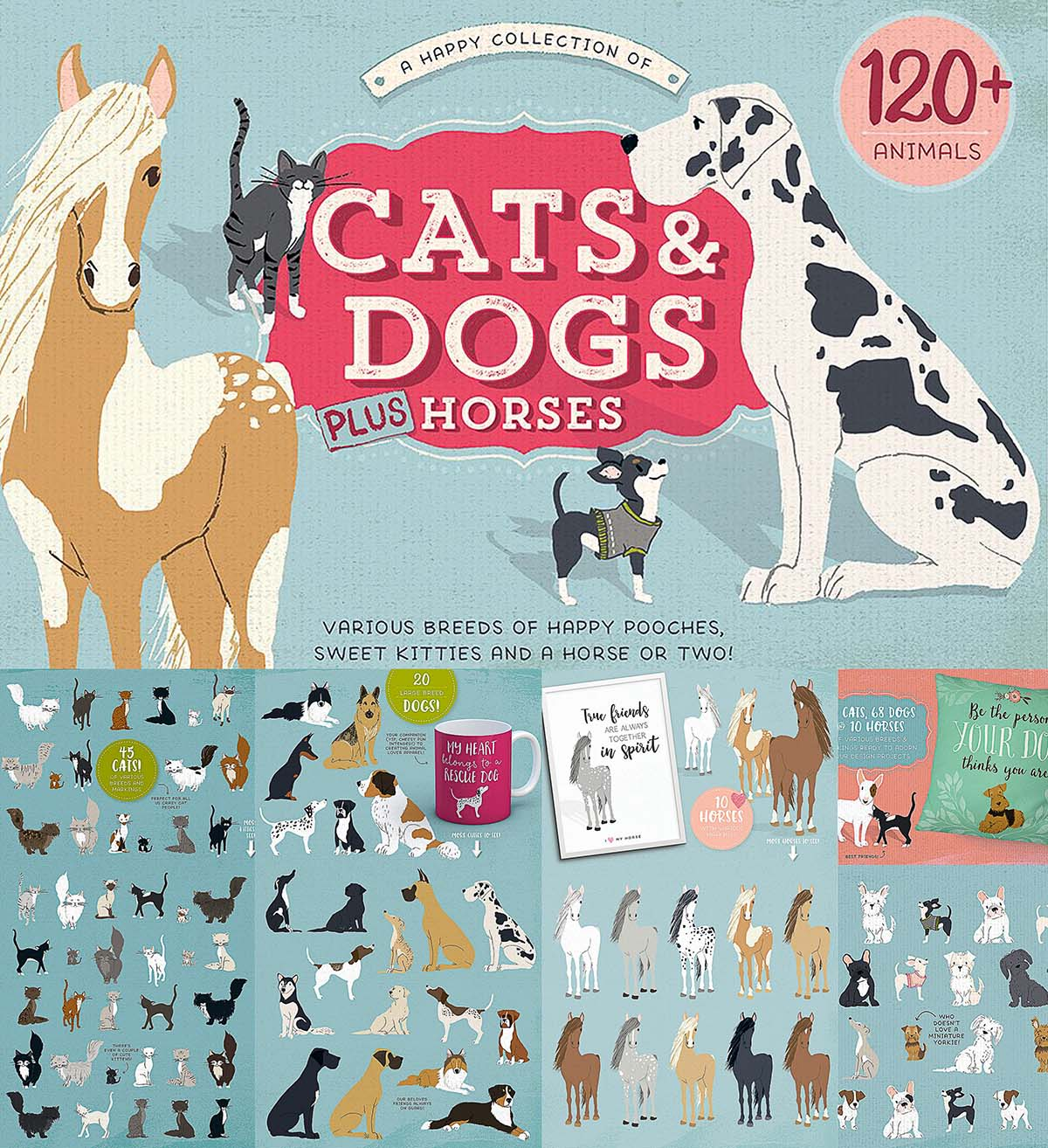 Animal Dog Free Porn dogs cats and horses illustrations | free download