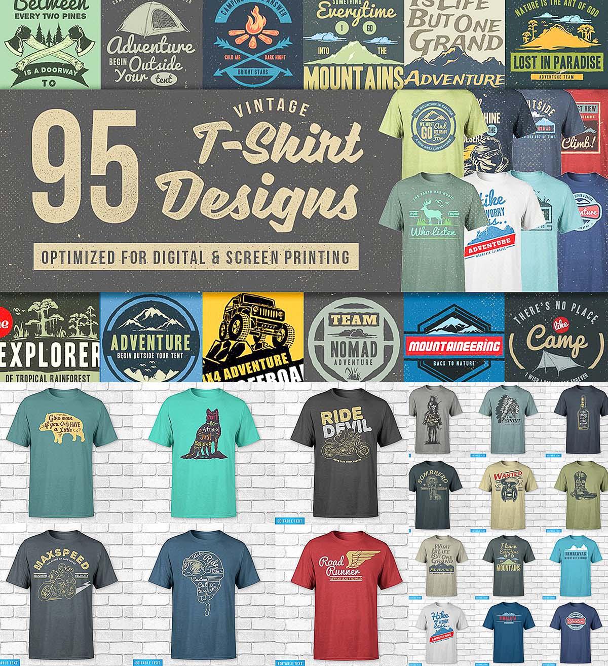95 T Shirt Designs Mega Bundle Free Download