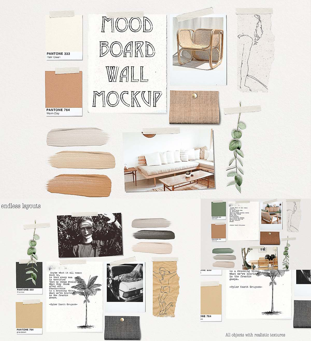 Design Your Own Home Free Software Mood Board Wall Mockup Free Download