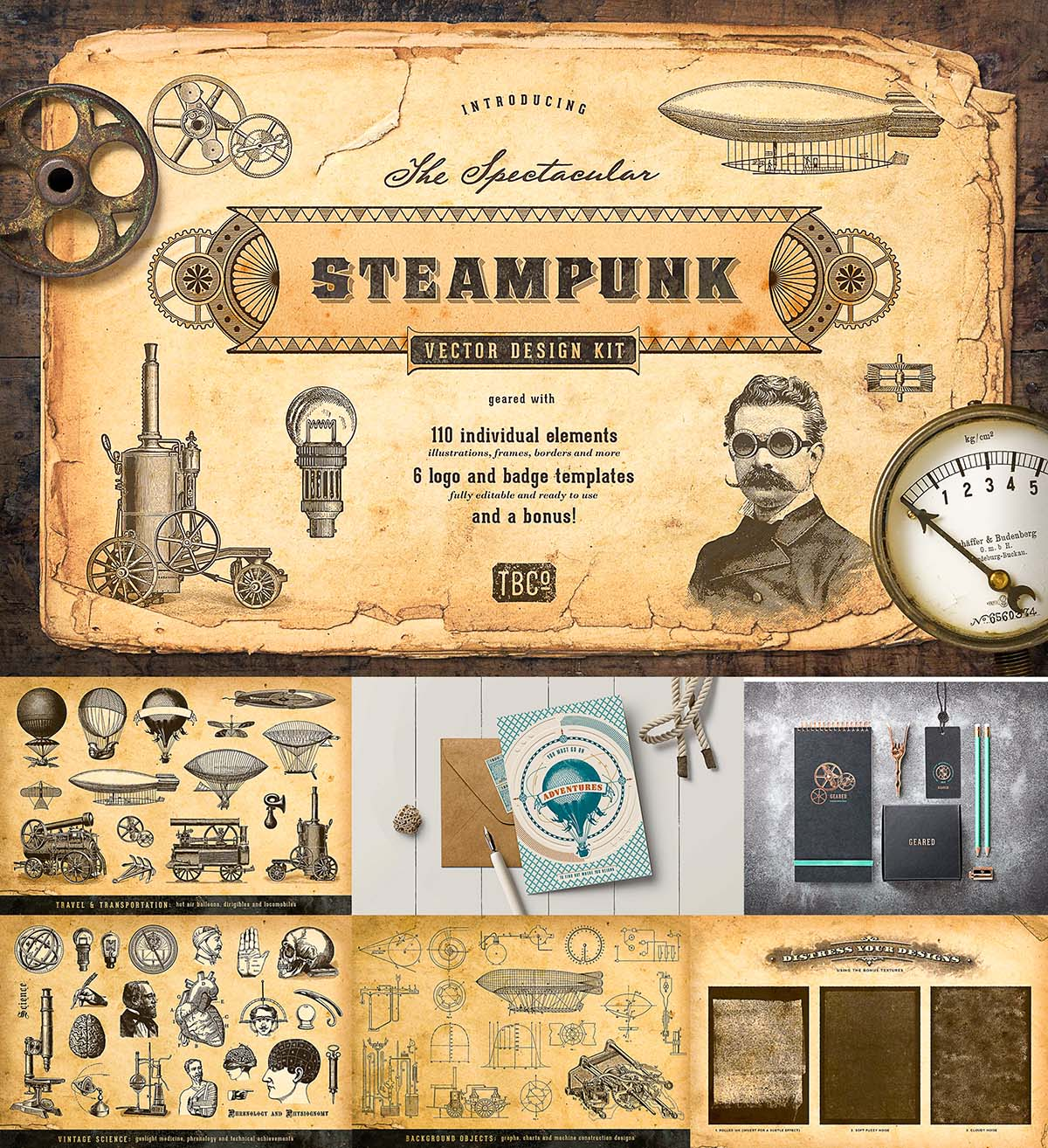 The Steampunk Vector Design Kit Free Download