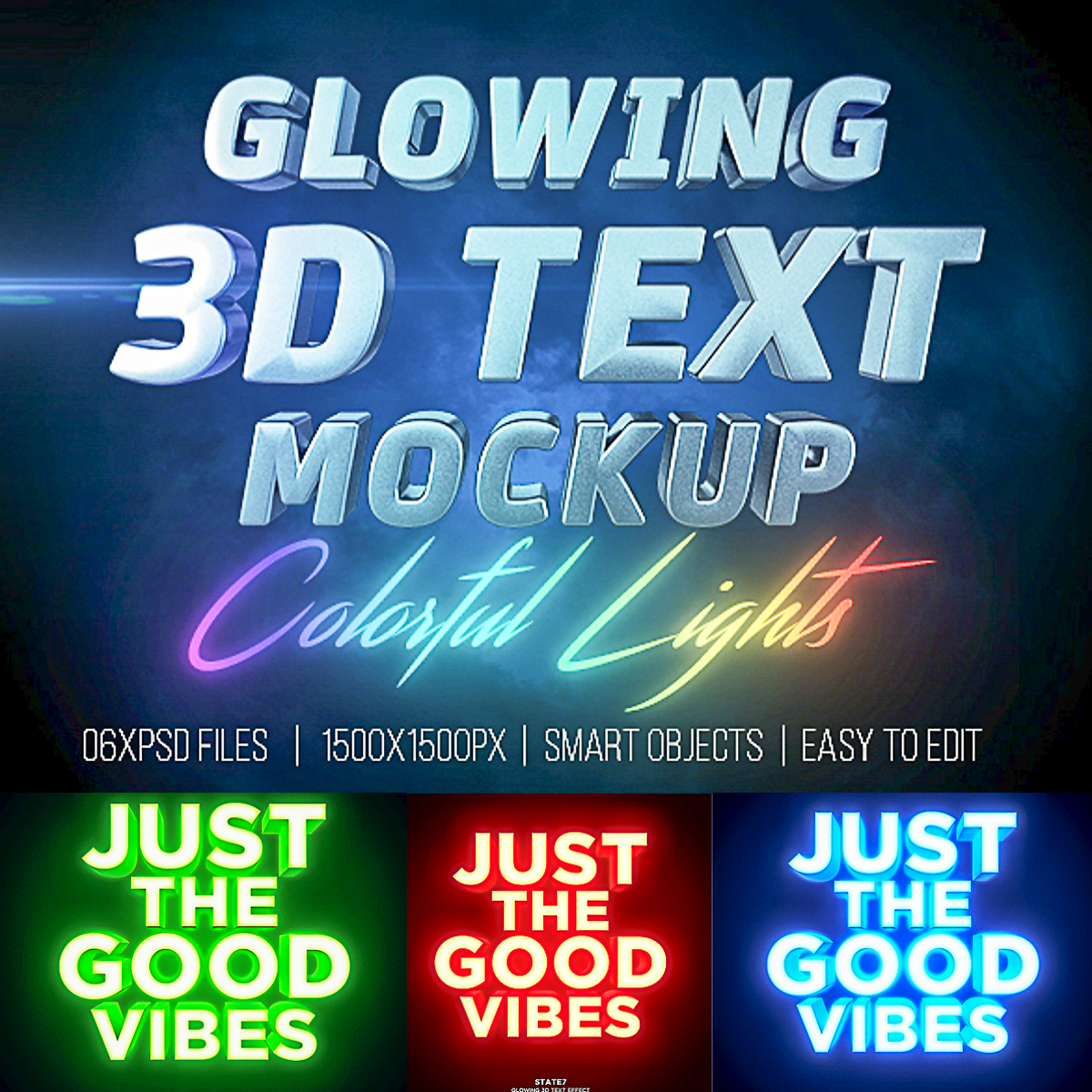 Glowing Text 3D Mockup | Free download