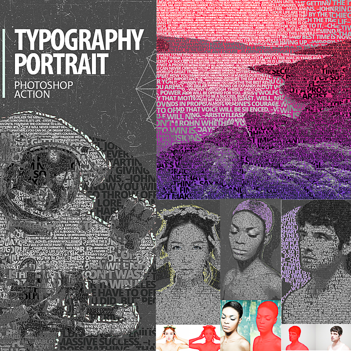 Typography Portrait Photoshop Action | Free download