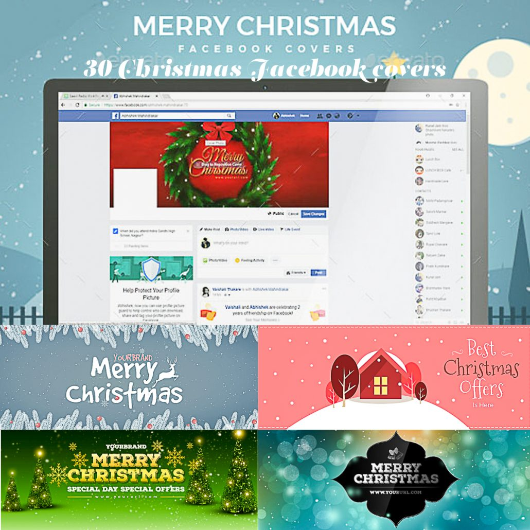 30 christmas facebook covers free download