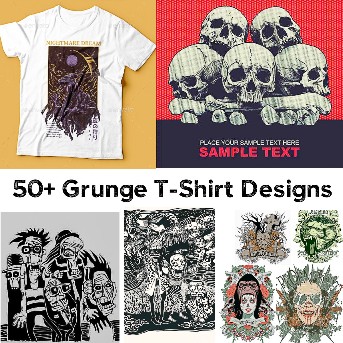 50 Grunge T Shirt Designs Collection Free Download