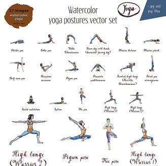 watercolor yoga postures vector set  free download