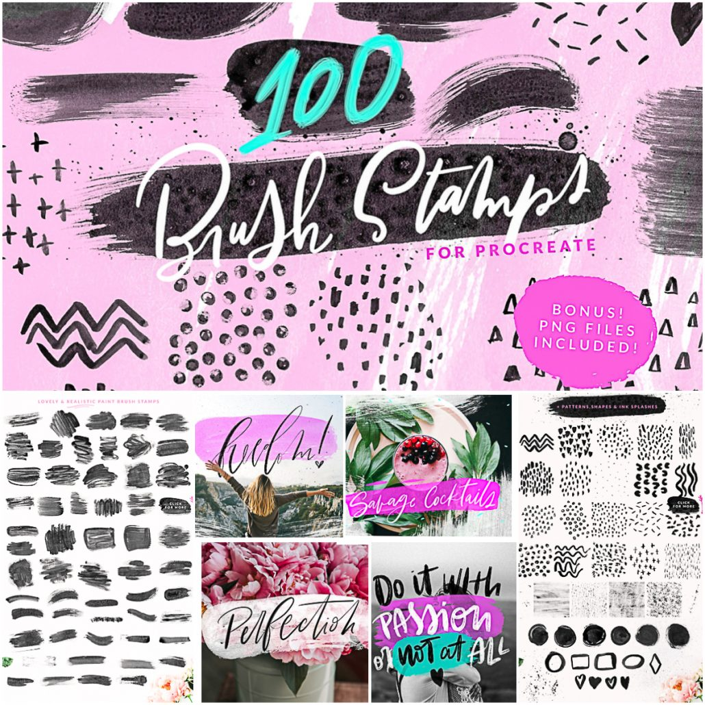 100 Paint Brush Stamps Brushes For Procreate