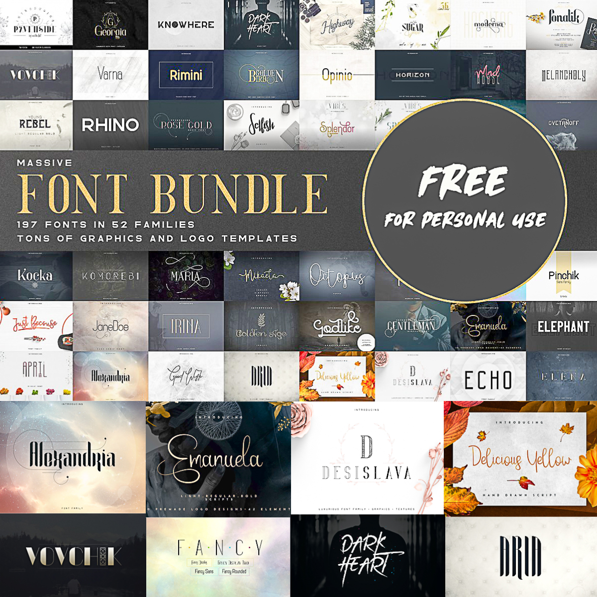 Massive Font Bundle 197 Fonts Free Download