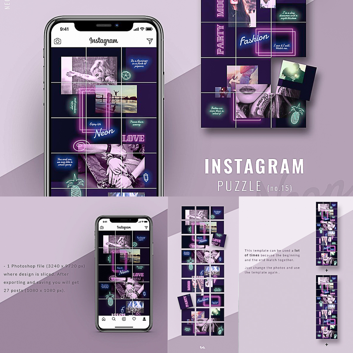 instagram puzzle template neon