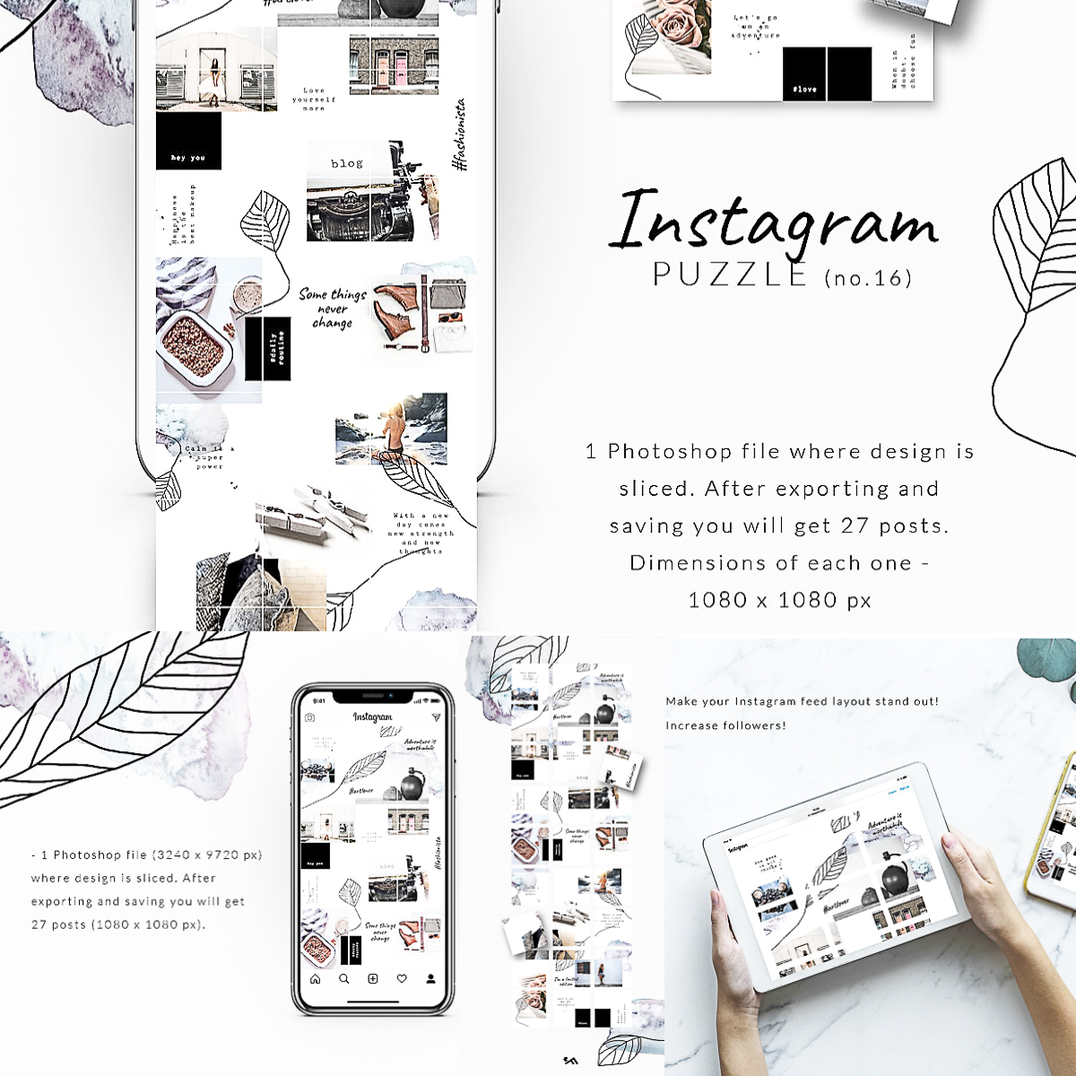 Instagram Puzzle Template Watercolor | Free download