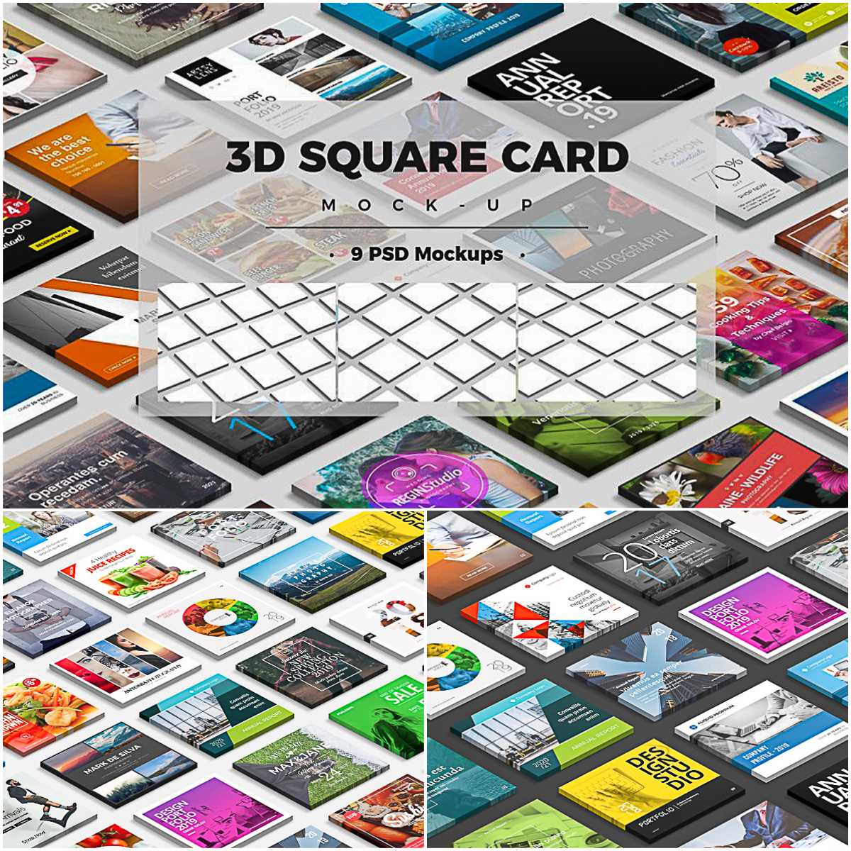 3D Square Card Mock-up | Free download