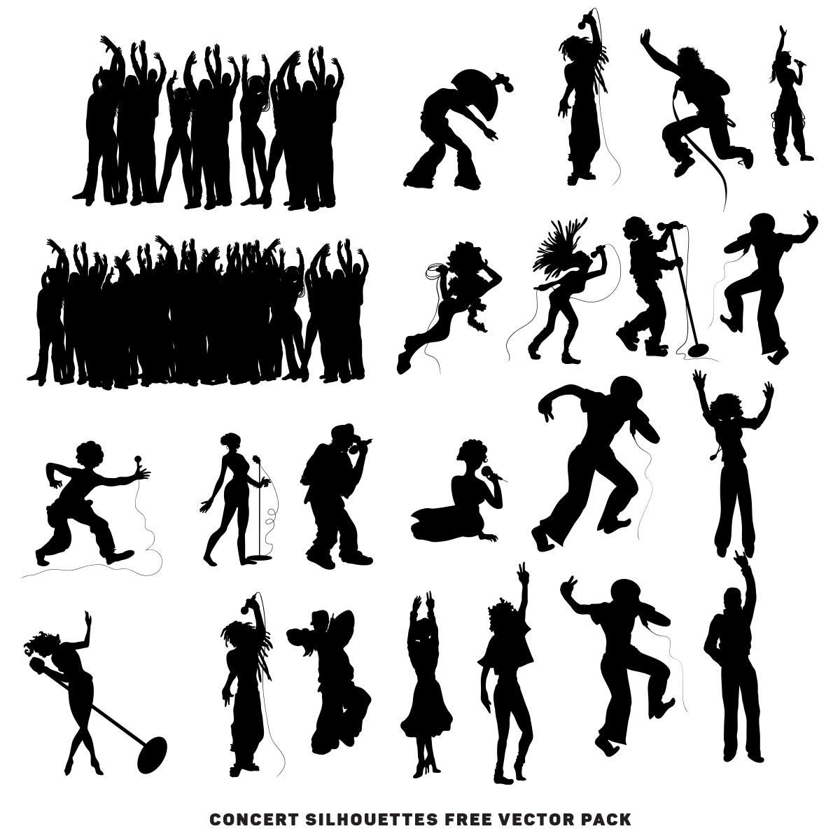 Concert Silhouettes free vector pack | Free download