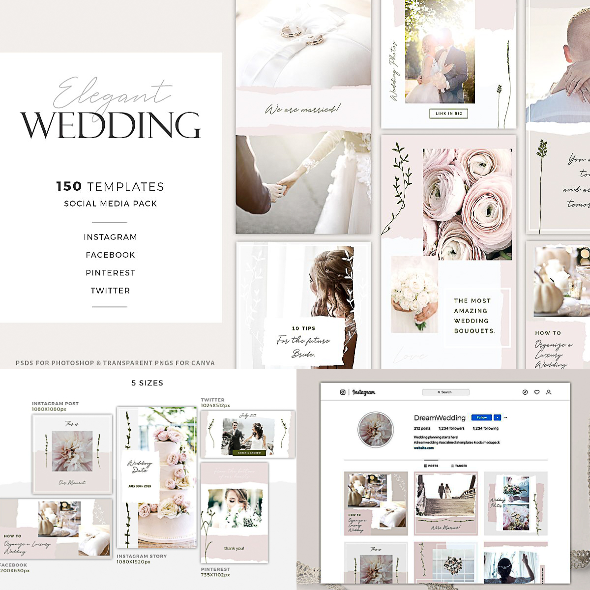 Elegant Wedding Social Media Pack   Free download
