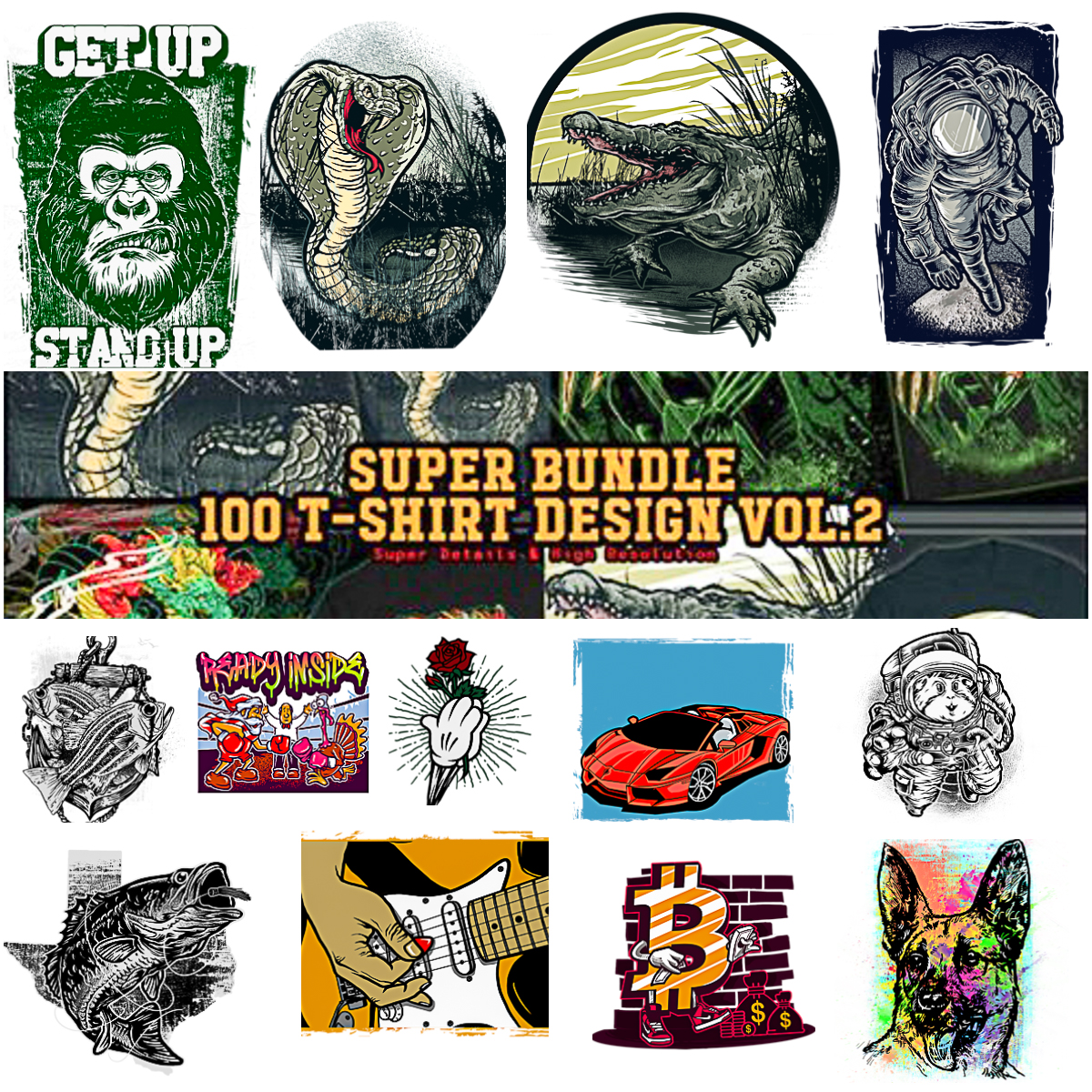 100 T Shirt Designs Super Bundle Free Download