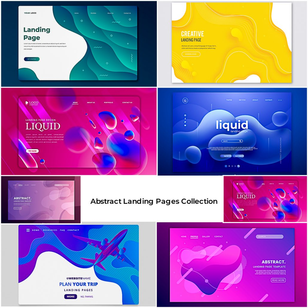 Abstract Landing Page Header Template Set