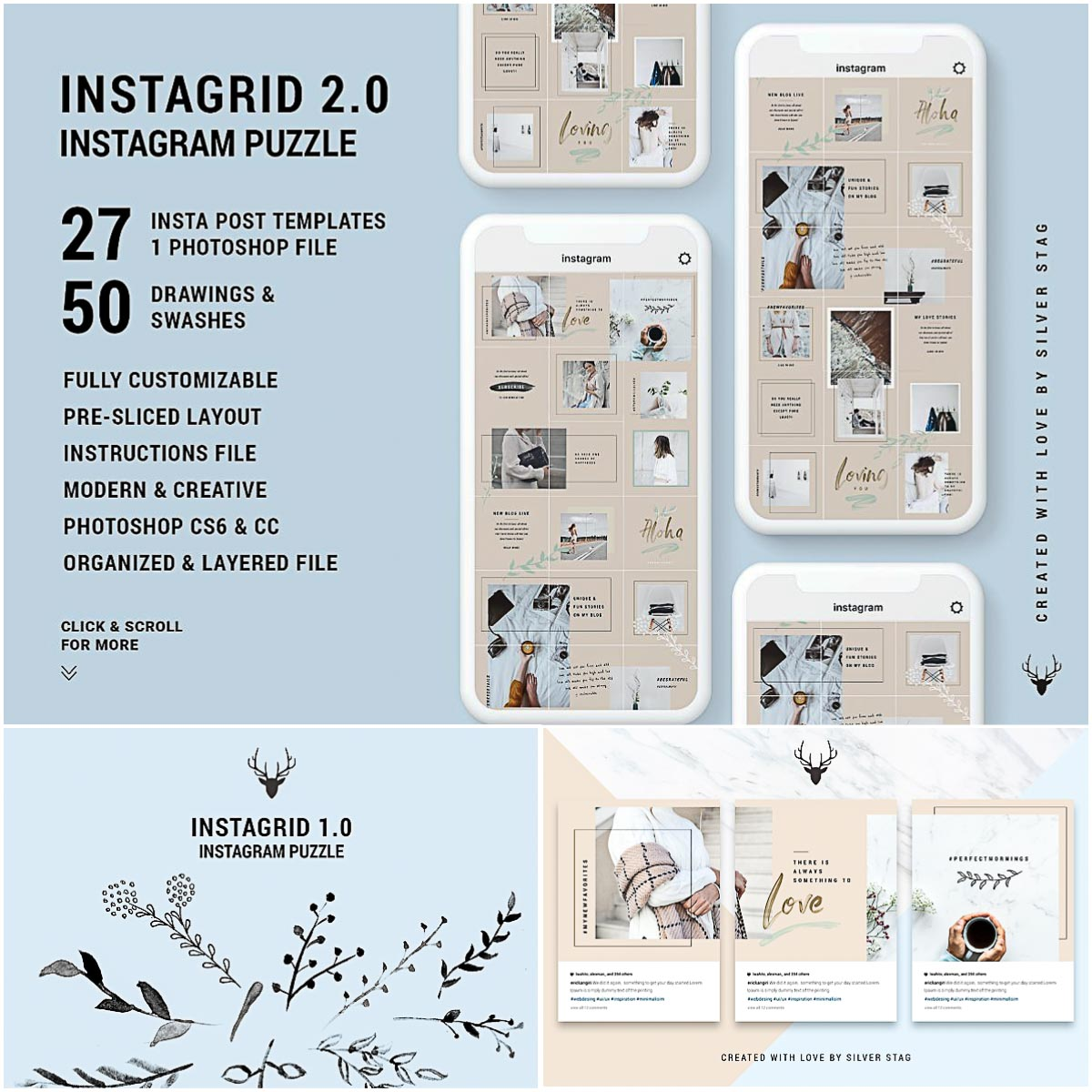 Instagram Puzzle Grid Template | Free download