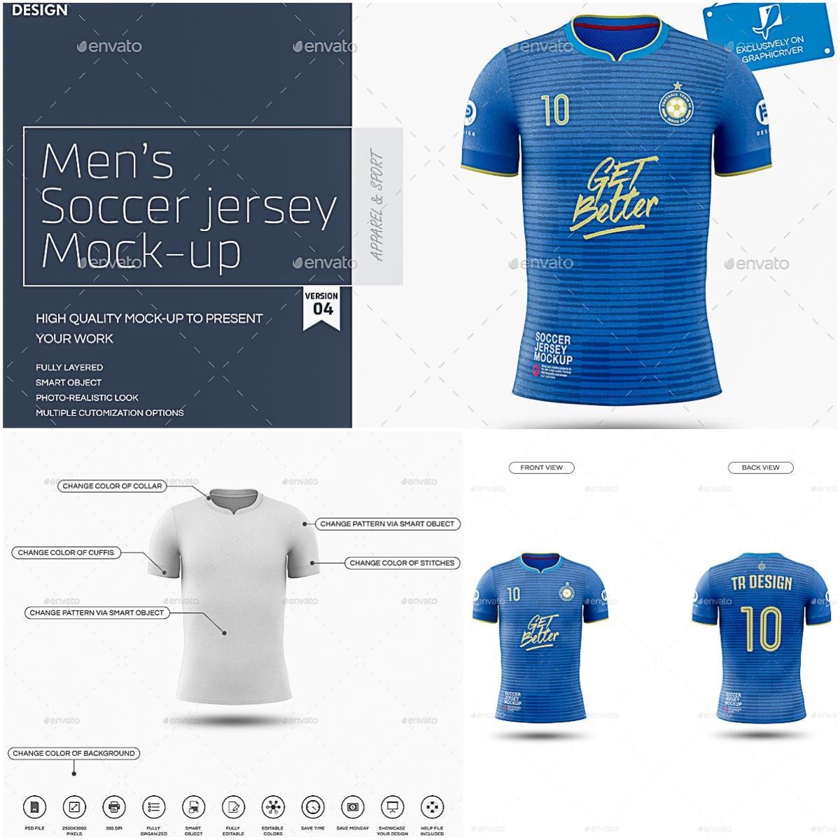 Mens Soccer Jersey Mockup