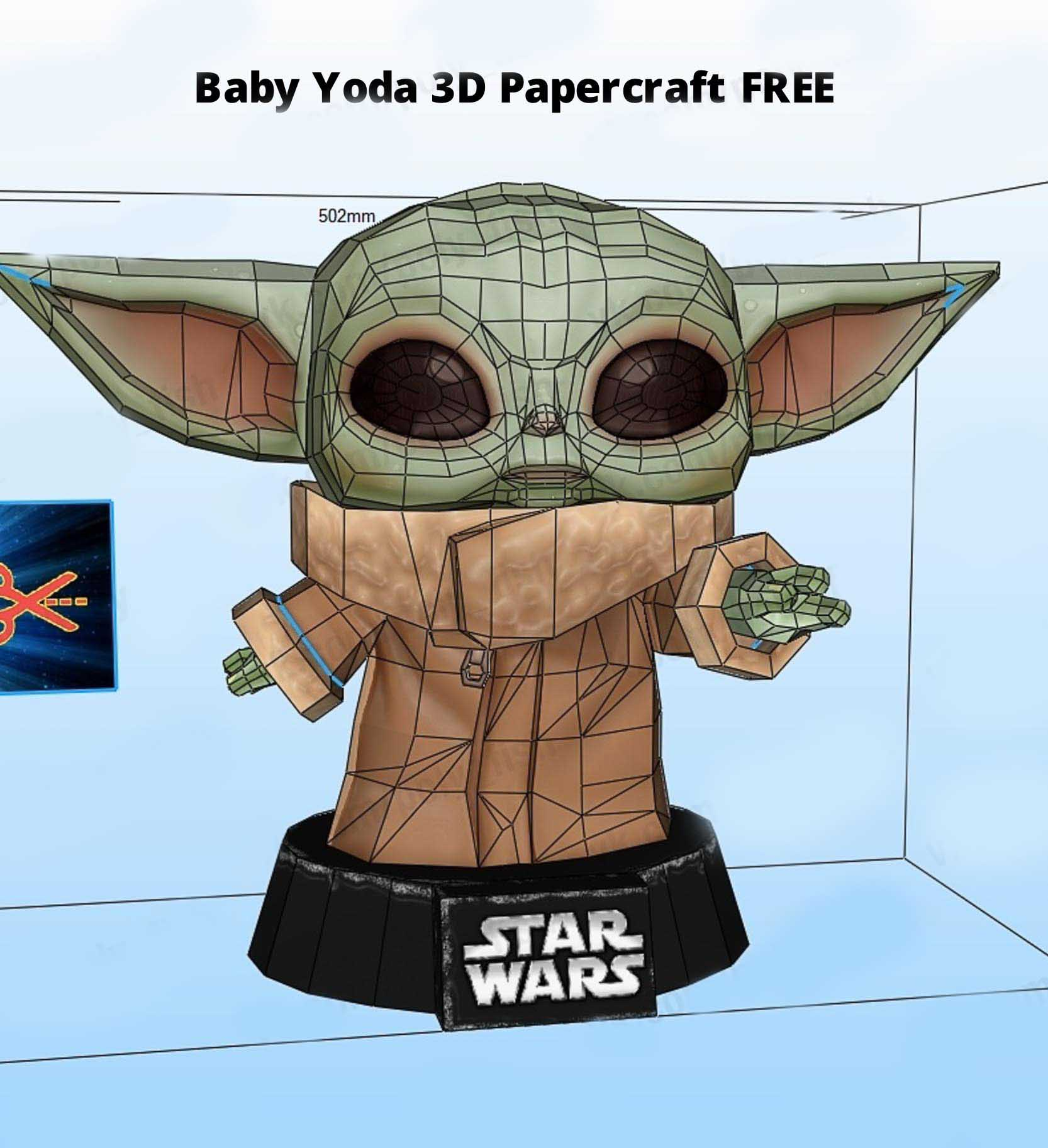 Baby Yoda 3D Papercraft Free