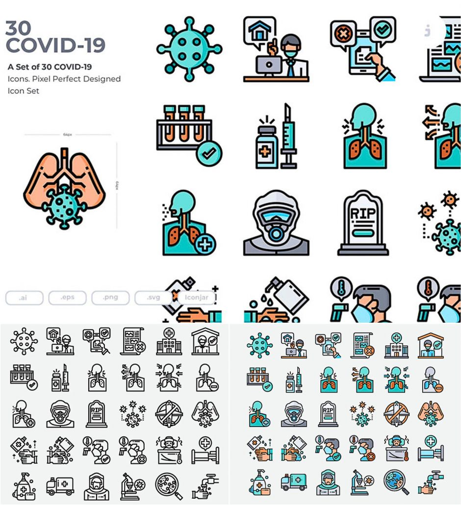 30 Covid-19 Icons  Free Download-2547