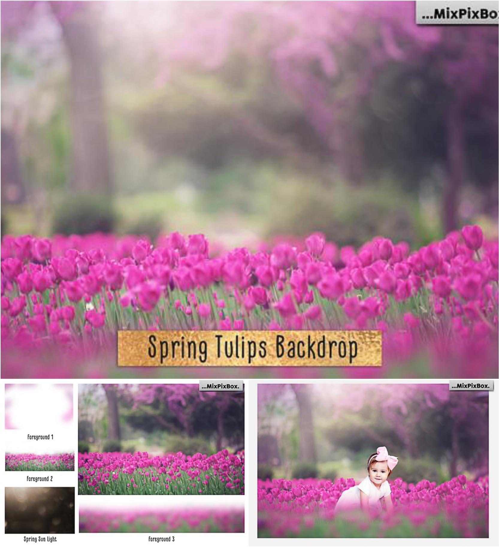 Christmas Kid T Shirt Mock Up: Spring Tulips Backdrop