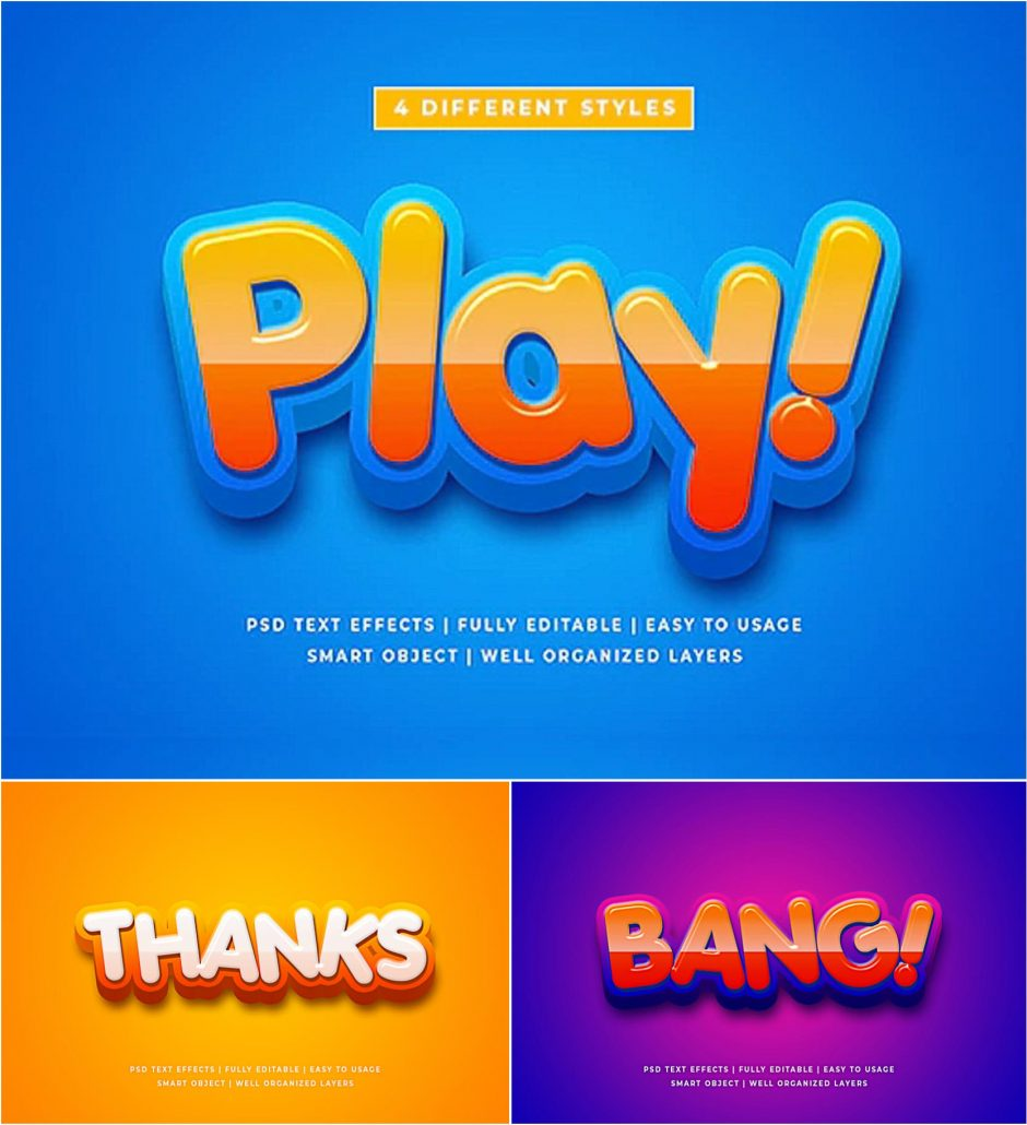 Download Cartoon Colorful 3d Text Style Effect Mockup   Free download Free Mockups