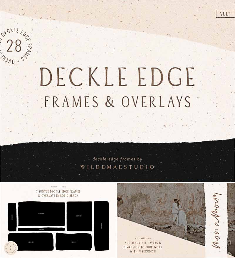 Realistic Logo Mockup On White Paper: Deckle Edge Paper Mockup Set
